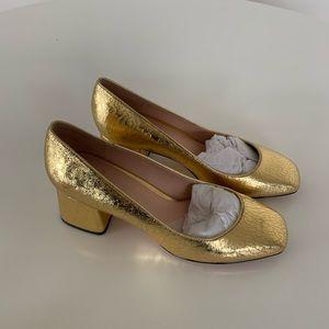 J. Crew Celia Pump- cracked gold and never worn!